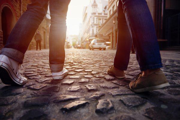 walking on cobblestone path